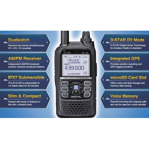ICOM ID-51E PLUS 2 BLACK PORTATILI