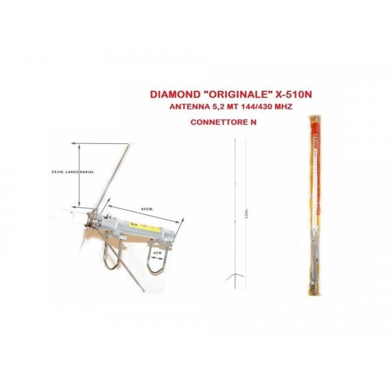 DIAMOND X-510N ANTENNA BIBANDA DA BASE 144-430 MHZ